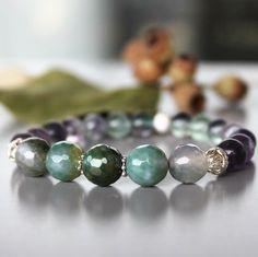 Agate crackle, fluorite and sterling silver bracelet