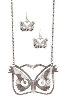 Owl Face Necklace & Earrings Set by Bansri on @HauteLook    SILVER 16