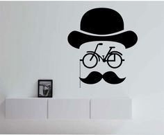 Hipster Bicycle Mustache Geometric  Vinyl Wall Decal Sticker Art Decor Bedroom Design Mural interior design hat by StateOfTheWall on Etsy https://www.etsy.com/listing/221011604/hipster-bicycle-mustache-geometric-vinyl