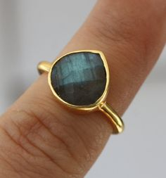 Labradorite Teardrop Ring Gold Filled ONLY ONE by YaniaCreations, $60.00