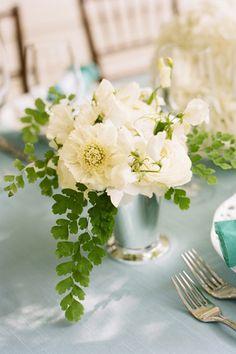 A Williamsburg Wedding mint julep cup floral arrangements centerpieces