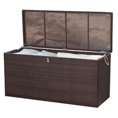 @Overstock.com - Manhattan Espresso Outdoor Cushion Box - The Manhattan outdoor cushion box offers a high quality construction that is weather- and UV-resistant. This bench also highlights an espresso finish, a cushioned top, and a powder coated aluminum frame.  http://www.overstock.com/Home-Garden/Manhattan-Espresso-Outdoor-Cushion-Box/7660559/product.html?CID=214117 $882.99