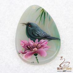 HAND PAINTED FLOWERS&BIRDS GEMSTONE CREATIVE NECKLACE PENDANT BEAD D1704 1156 #ZL #PENDANT
