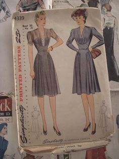 Vintage Sewing Pattern 1940s Dress Gathered Bodice