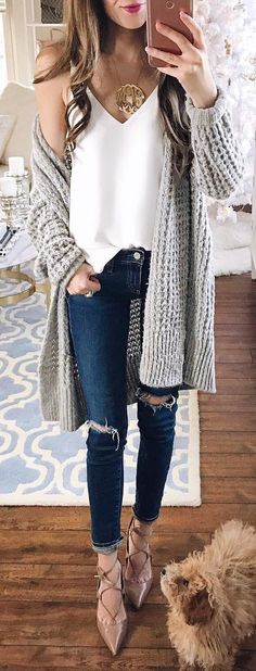 #winter #fashion /  Grey Maxi Cardigan / White Top / Ripped Skinny Jeans / Tan Laced Up Flats