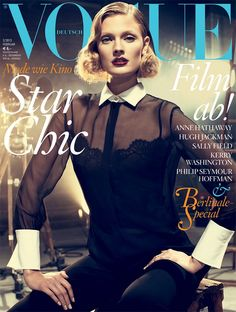 Sheer meets the women's tuxedo on the cover of Vogue Germany's February 2013 edition.
