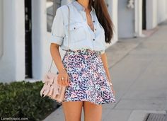 Bows fashion denim purse girlie fashion photography floral skirt