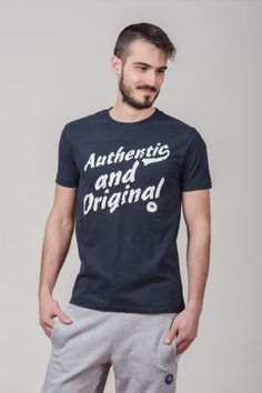 """Ανδρικό T shirt """"Authentic & Original"""" Navy"""