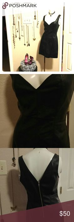 FAUX LEATHER DRESS Black faux leather dress with V back with silver zipper. MINKPINK Dresses Midi