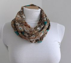 Floral Loop Scarf Cirle Scarf Loop Scarf Brown by fizzaccessory, $20.00