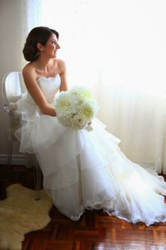 Alencon lace and silk organza wedding dress. By Melissa Gentile