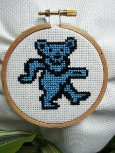 Grateful Dead Dancing Bear 3 hoop cross by littlehippiechick