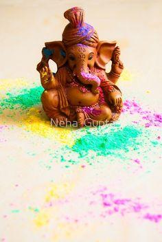 'Ganesha Playing Holi' by Neha Gupta Ganesh Chaturthi Decoration, Ganesh Chaturthi Images, Happy Ganesh Chaturthi, Shri Ganesh Images, Ganesha Pictures, Clay Ganesha, Ganesha Art, Shri Ram Wallpaper, Eco Friendly Ganesha