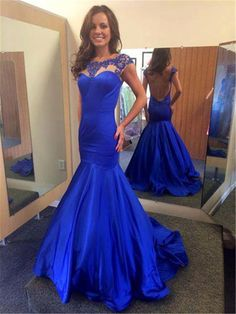 Prom Dresses,Long Mermaid Prom Dress,Sexy Party Dress,Royal Blue Evening Dress,Floor Length Prom Dress,Sexy Prom Dresses,Long Backless Prom Dresses,Formal Gowns for Women,Prom Dresses Cap Sleeve