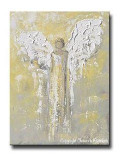 ORIGINAL Angel Painting Gold Grey Abstract Guardian Angel Textured Inspirational Home Wall Art - Christine Krainock Art - Contemporary Art by Christine - 1