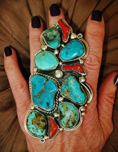 CHAVEZ - VIBRANT TURQUOISE SIGNED NAVAJO RING, 73 grams, Sterling Silver,sz 8.5 in Collectibles, Cultures & Ethnicities, Native American: US   eBay