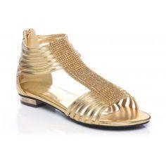 Women Sandals Evening Flat Sandals - Gold