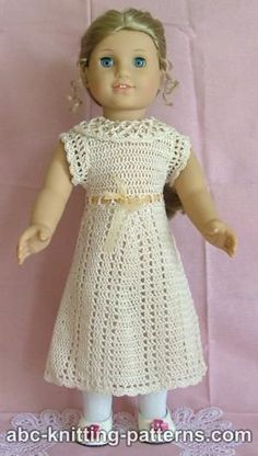 #Free Pattern; crochet; American Girl Doll Lace Summer Dress  ~~