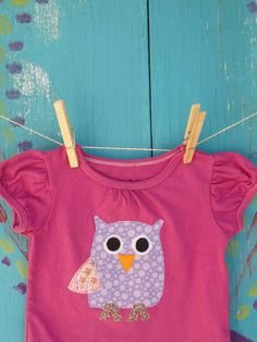 Children's Clothing, Appliqued Tshirt with Purple Owl