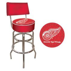 NHL Logo 30 in. Padded Swivel Bar Stool with Back - NHL1100-DR