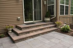 Client contacted us to remove an existing patio and landing. We installed a new patio using EP Henry Devonstone in Bluestone . The step risers were constructed using Outdoor Living by Belgard Antique Quarry in silex blend. We also did a few plantings. Front Stoop, Outdoor Living, Outdoor Decor, Entryway, Stairs, Construction, Patio, Plants, Landing