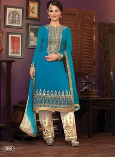 Heavy designer fancy Blue coloured semi stitched salwar suit