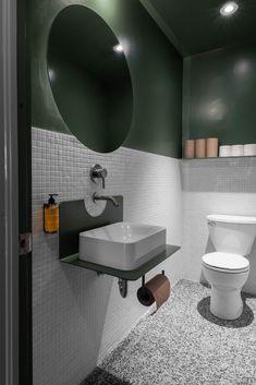 "Colours ""inspired by a classic New Balance sneaker"" decorate falafel shop - DIY Badezimmer Dekor Dark Green Bathrooms, Green Bathroom Interior, Modern Bathroom, Small Bathroom, Bathroom Ideas, Bathroom Sinks, Washroom, Bathroom Fixtures, Terrazzo Flooring"