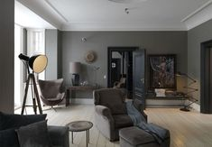 Elegant and modern living room with interior in brown, black and grey tones. Living Room Color Schemes, Paint Colors For Living Room, Living Room Decor, Decor Room, Home Decor, Brown And Cream Living Room, Brown Couch Living Room, Brown Furniture, Home And Living