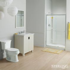 Shower door offers long-lasting, durable construction with modern, minimalist appeal and functional performance. Teen Bathrooms, Yellow Bathrooms, Bathtub Doors, Bathtub Shower, Frameless Sliding Shower Doors, Simple Designs, Black And White, Modern Minimalist, Brushed Nickel