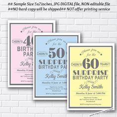 Surprise Birthday Invitation for any age, 30th 40th 50th 60th 70th 80th 90th birthday invitation black theme- card 650