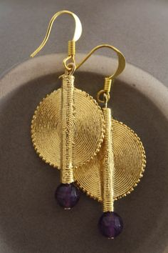 Aflé Bijoux African Earrings Dark Amethyst Earrings by AFLEBijoux, €35.00