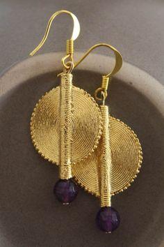 Aflé Bijoux African Earrings Dark Amethyst Earrings by AFLEBijoux, €35.00