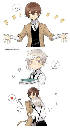 Wait, does Dazai want to give Atsushi a hand with the books? Of course he doesn't.. he just wants a hug. Oh, Dazai.. XD