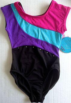Moret Leotard Girls Size S 6/7 Dance Gymnastics Dry-Tech Colorblock NWT #JacquesMoret