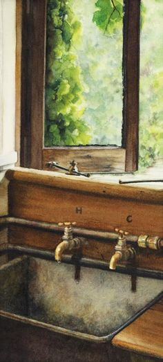 Rush Cottage - Watercolor on Arches 300 gsm Hot Pressed paper Size: 13″ x 6″ 330 mm x 150 mm