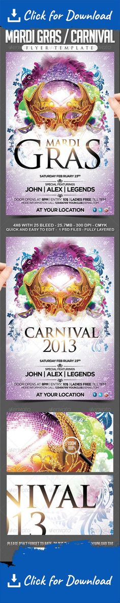 a5, america, aurelio chambal, brasil, brasileiro, brazil, brazilian, canival, carnaval, carnival, colors, day, festa, festival, flyer, folheto, grandelelo, latin, mardi gras, mardigras, mask, masks, party, poster, rio de janeiro, samba, summer, template Enjoy this Mardi Gras / Carnival flyer Template for the next September 7th,  you can change everything you want, color, style, pictures, typo is no problem. It is well-assorted in folders and layers.   	Fonts : Trajan: System Font Gotham…