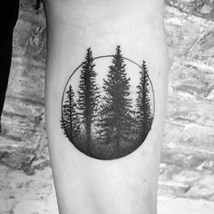Circle With Tree Forest Mens Simple Inner Forearm Tattoo