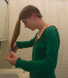 how to cut your own hair using the ponytail method
