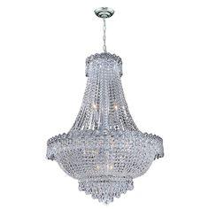 """French Empire Collection 12 light Chrome (Grey) Finish and Clear Crystal Chandelier 24"""" x 32"""" (12 Light Chandelier) (Brass)"""