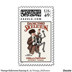 Vintage Halloween Dancing Skeleton Postage