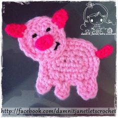 Crochet Piggy Applique - Free Pattern
