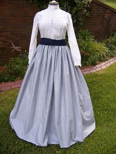 Civil War Skirt in Blue and white Plaid by lavonsdesigns on Etsy, $29.95