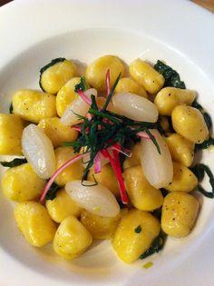 Yukon gold gnocchi with braised radish Yukon Gold, Radish Recipes, Sous Vide, Gnocchi, Grilling, Community, Dishes, Eat, Cooking