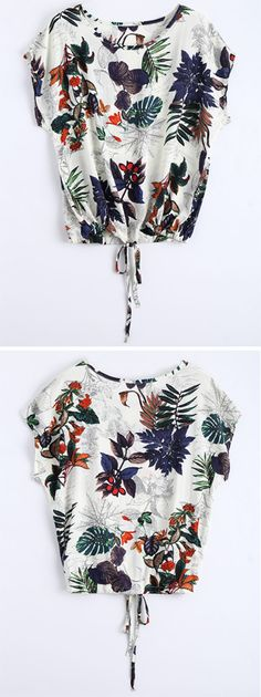 Up to 40% OFF + Free shipping on orders over $30.  Round Collar Leaves Print Drawstring Blouse. Zaful,Top,Outfits,Blouses,Tees,T-shirt,Tank top,Crop top,Shirts,Off shoulder blouses,Off the shoulder tops,Halter top,Tunic tops,to find different top ideas @zaful Extra 10% OFF Code:ZF2017