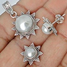 Delightful Silver Pendant and Earrings Set with natural White Pearl Gemstones... <3