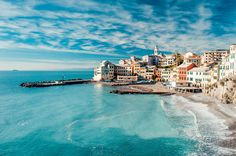View of Bogliasco and Mediterranean Sea. - Getty Images