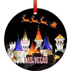 Las Vegas Sign Hotels Holiday Christmas Hanging Tree Round Ornament High Roller