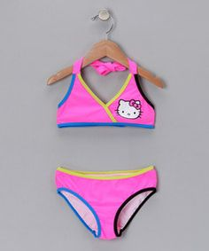 b8fb1ff377 Take a look at this Pink & Teal Trim Bikini - Girls by Hello Kitty on today!