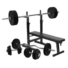 Gorilla Sports Weight Bench with 100KG Vinyl Complete Weight Set. Robust weight bench with a full set of 100KG vinyl weights. The bench is padded for comfort, while the barbell rack can be adjusted to suit your needs. The weights package includes everything you need with a straight barbell, EZ Curl bar and two dumbbell bars, plus a range of vinyl weight plates. The vinyl finish on the weights helps to prevent scuffs and scratches on your floor.