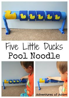 """It is again and this fortnight's Nursery Rhyme is """"Five Little Ducks"""". To make our five little ducks pool noodle I used a sharp knife to cut Rhyming Preschool, Rhyming Activities, Toddler Preschool, Toddler Activities, Preschool Activities, Preschool Music, Gross Motor Activities, Music Activities, Nursery Rhyme Crafts"""